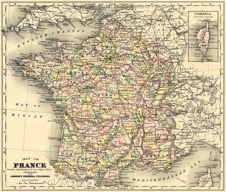 antique map France illustration