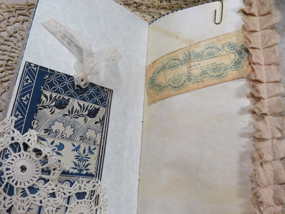 French Blue junk journal pocket page