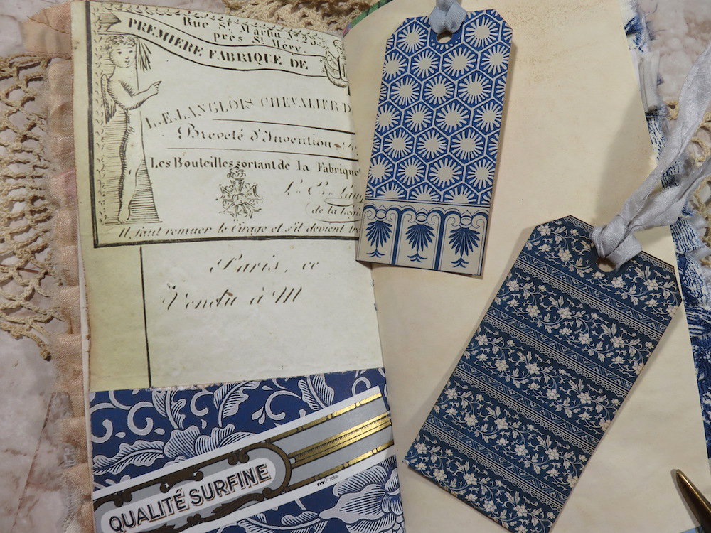 blue and white tags