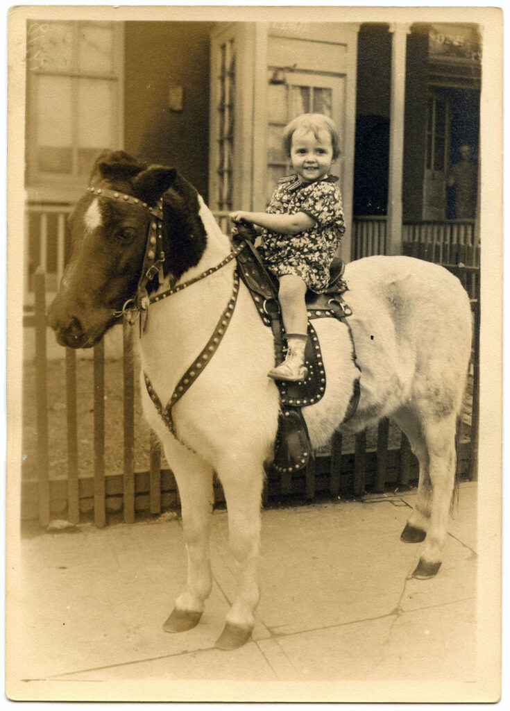 girl pony vintage photo image
