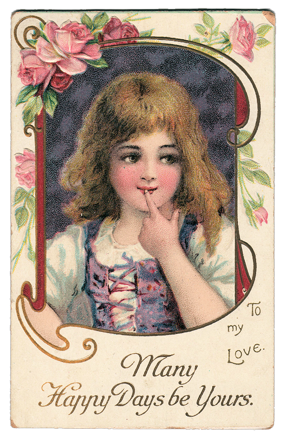 Valentine girl vintage illustration