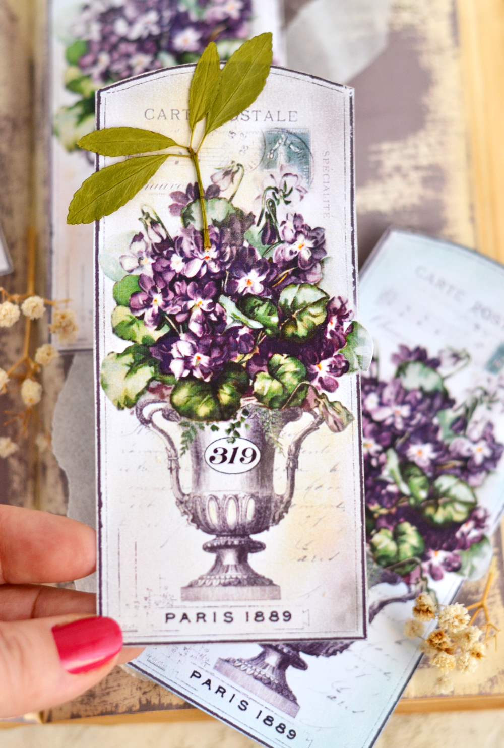 Vintage French Violet Tags - distressed with makeup!