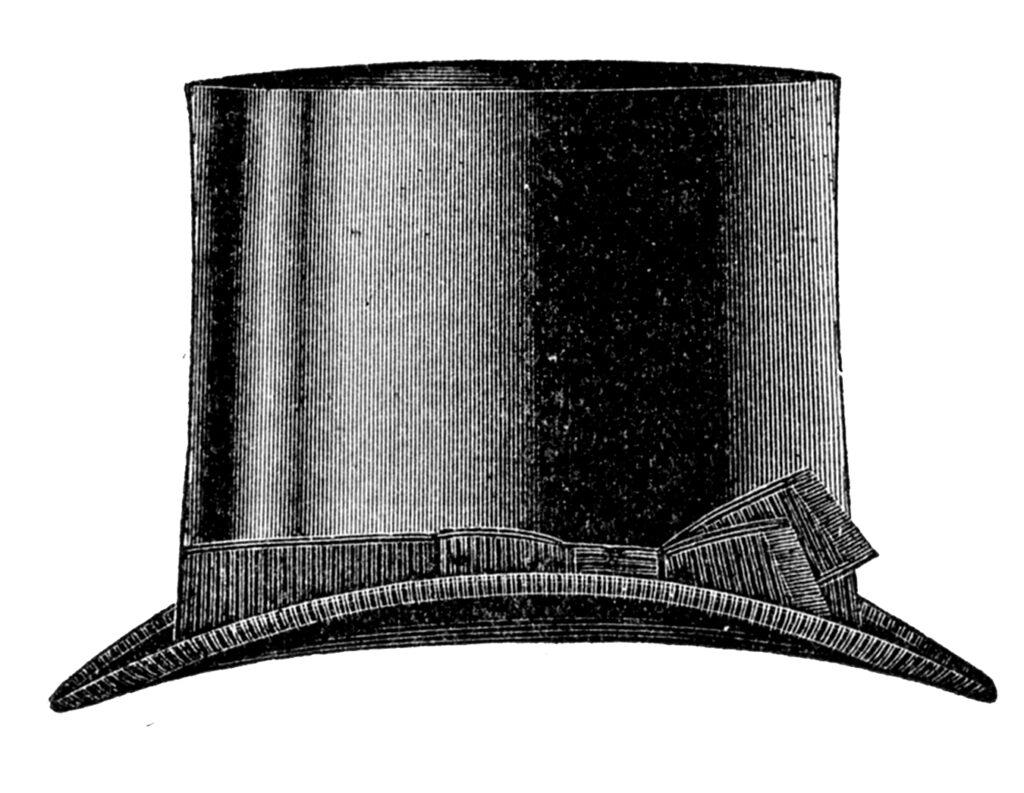 vintage black top hat clipart