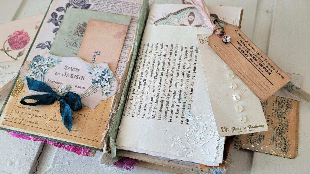 French ephemera junk journal page
