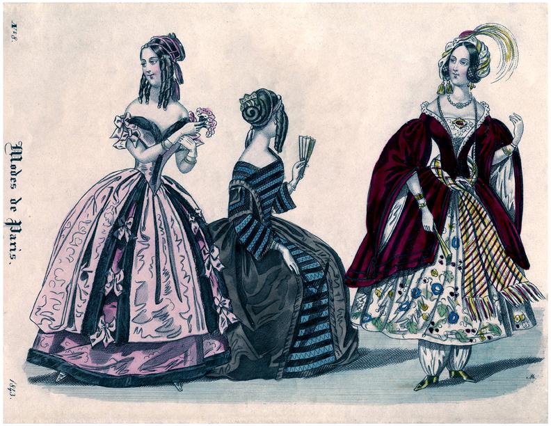 Paris antique fashion printable illustration