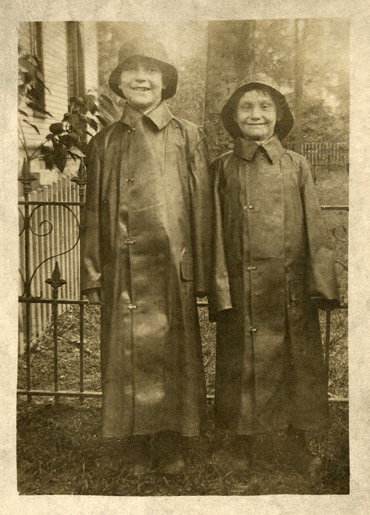 kids raincoats hats vintage photo image