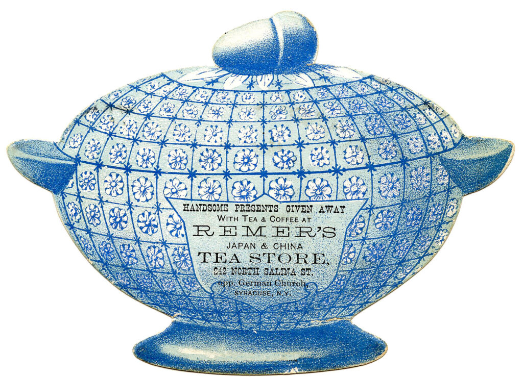 antique tea canister advertising