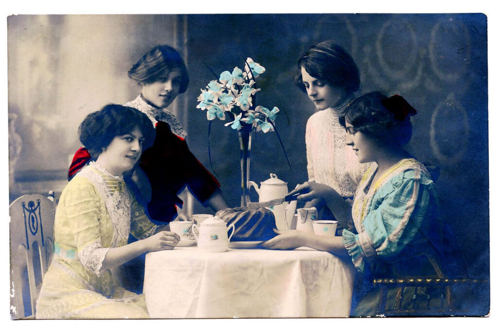 tea party women vintage photo image