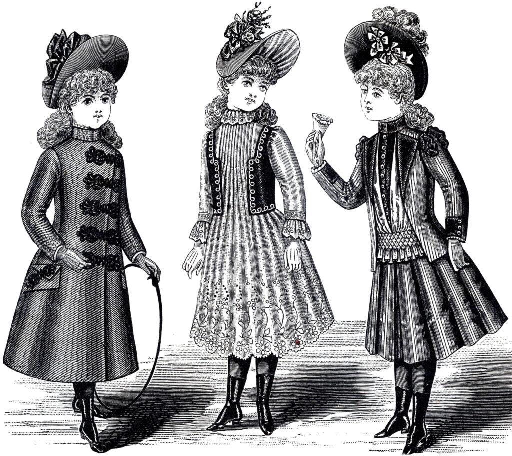 black white girl's Victorian fashion clipart