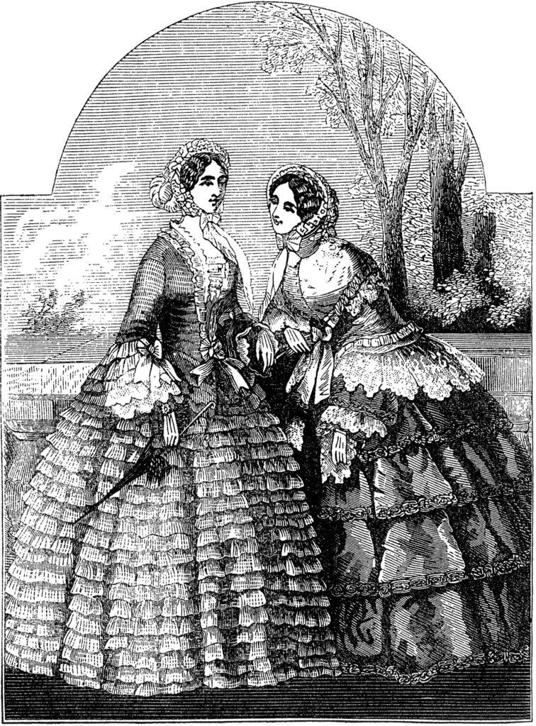 black white Victorian fashion ladies image