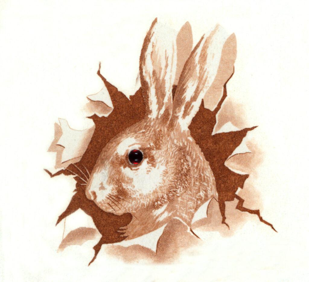 vintage bunny head paper clipart