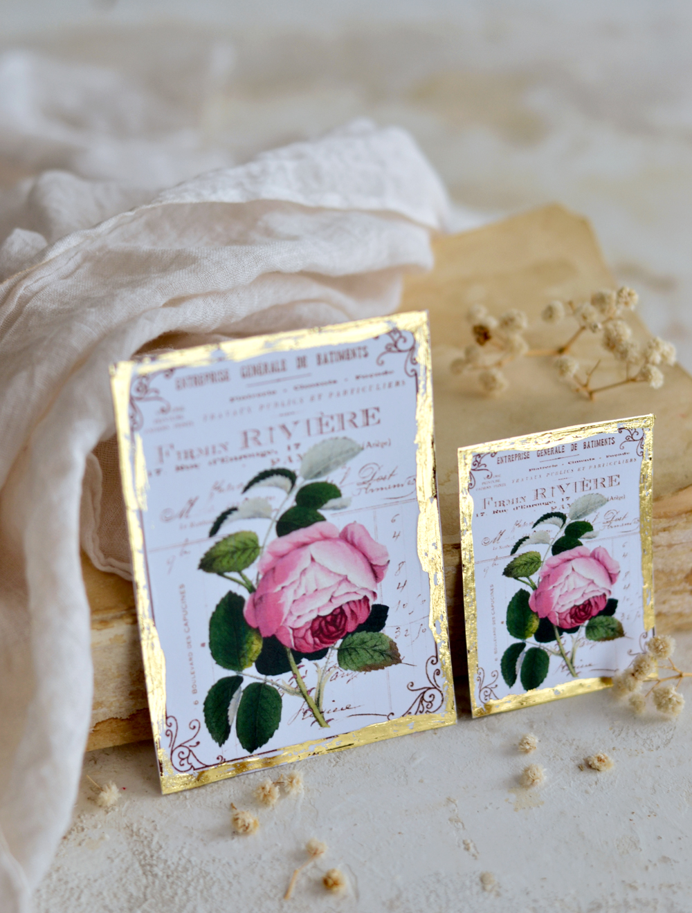 Antique Gold French Ephemera Rose Tags