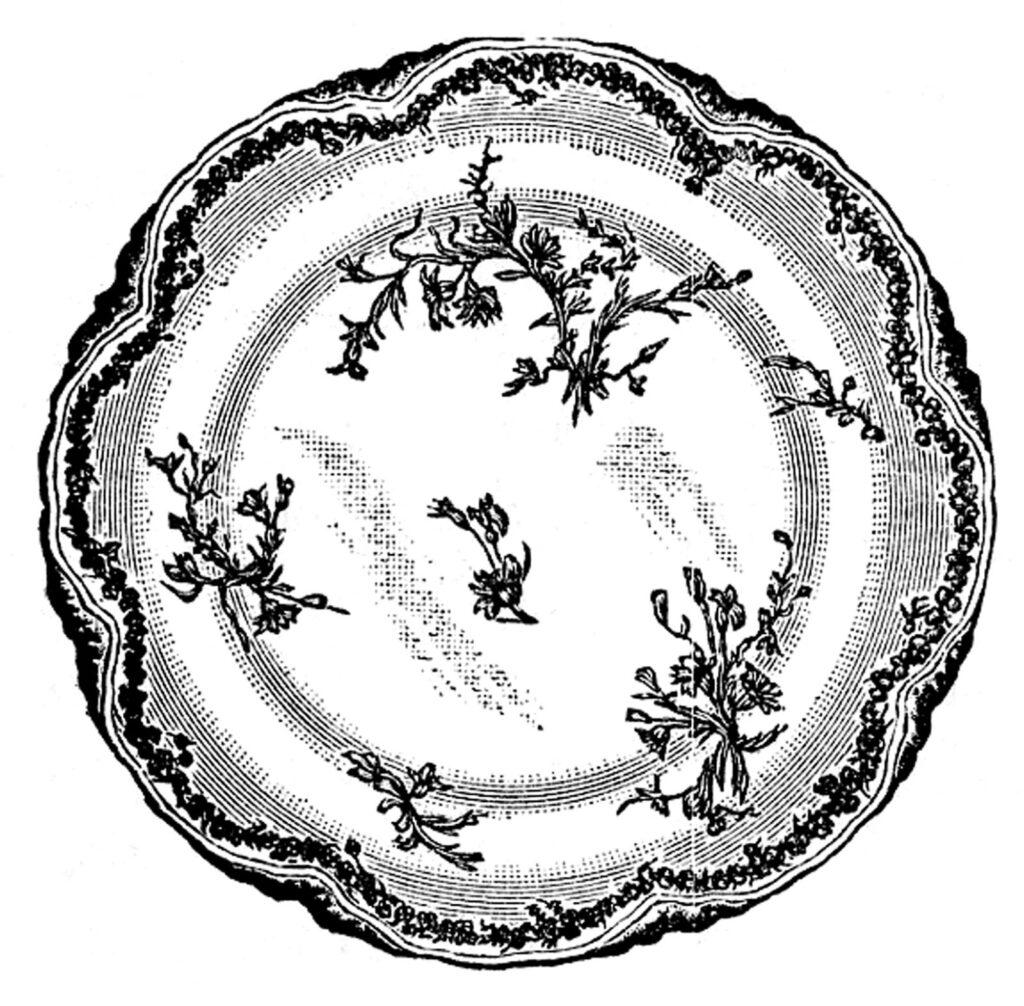 vintage china plate illustration