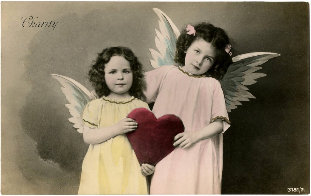 vintage valentine angel girls image