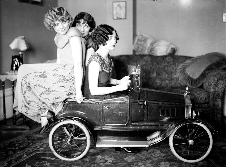 women toy car vintage photo clipart