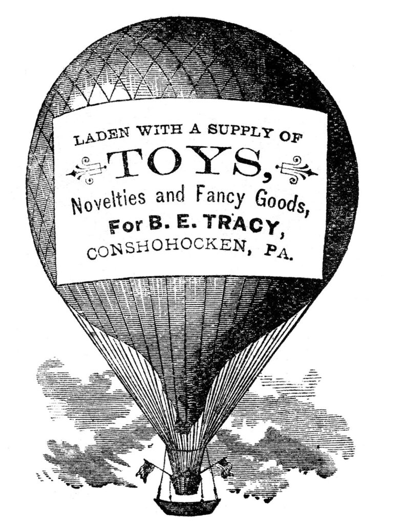 hot air balloon advertising message typography clipart