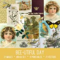 Bee-utiful Day vintage bee ephemera bundle