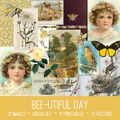 Bee-utiful Day vintage bee ephemera bundle