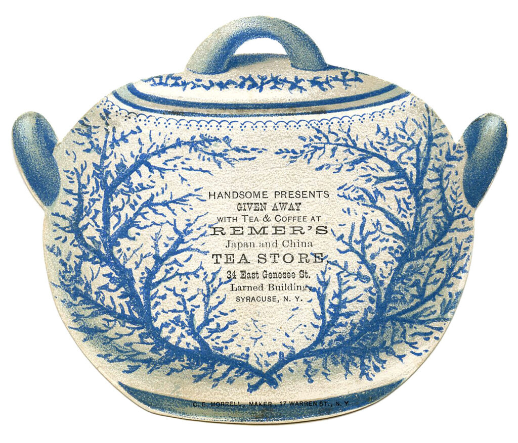 blue white tea canister ad image