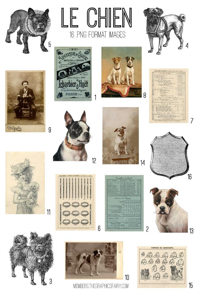 vintage Le Chien Dogs ephemera digital image bundle