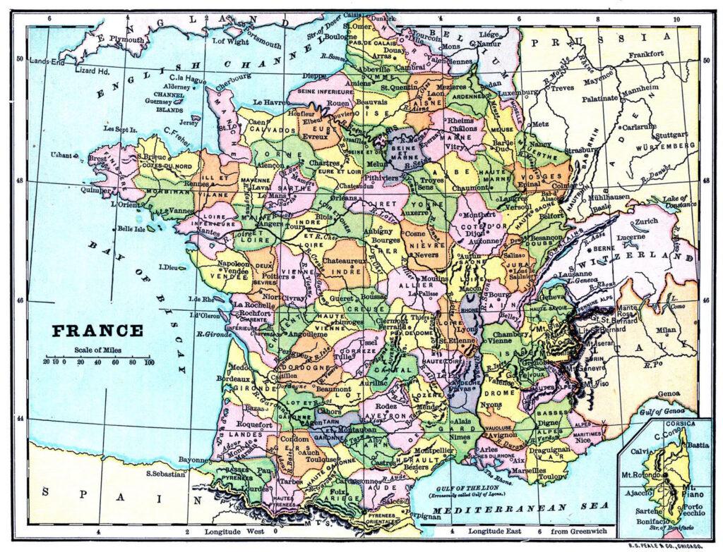 vintage map France image