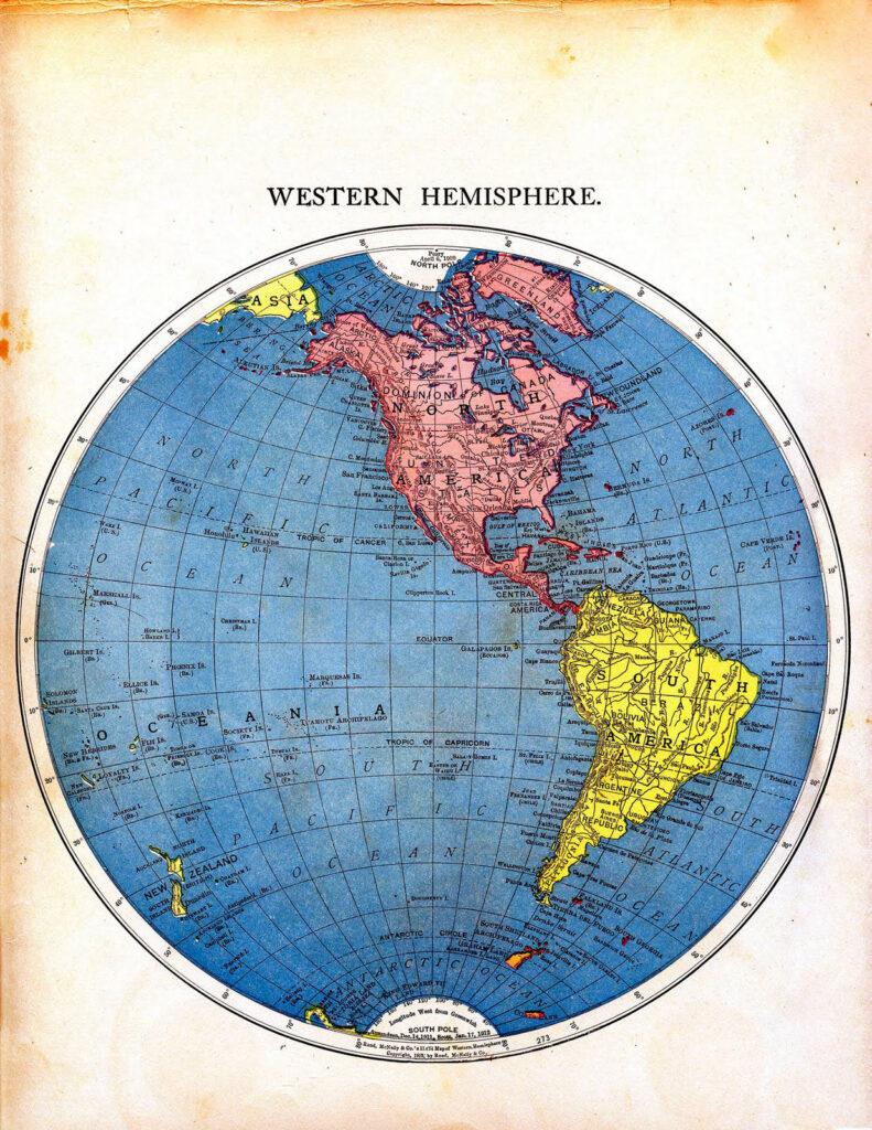 Western Hemisphere vintage map printable image