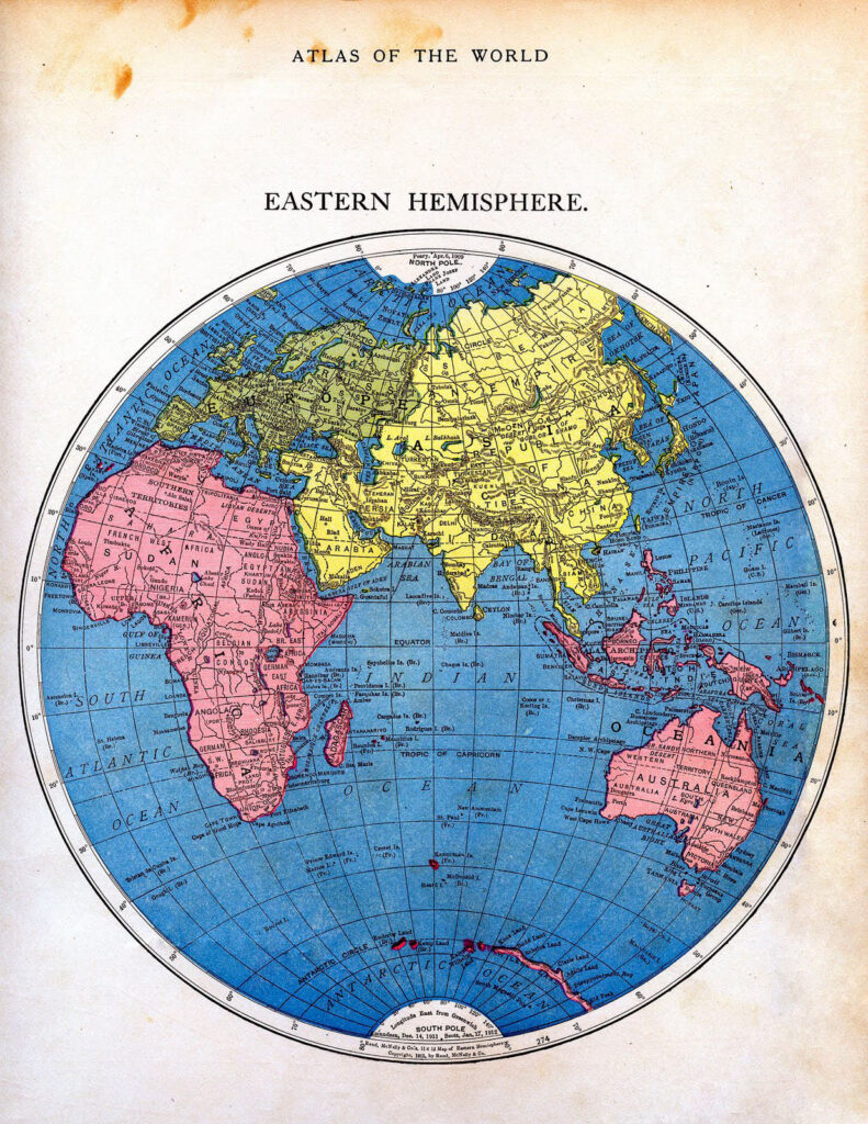 Eastern hemisphere antique map image