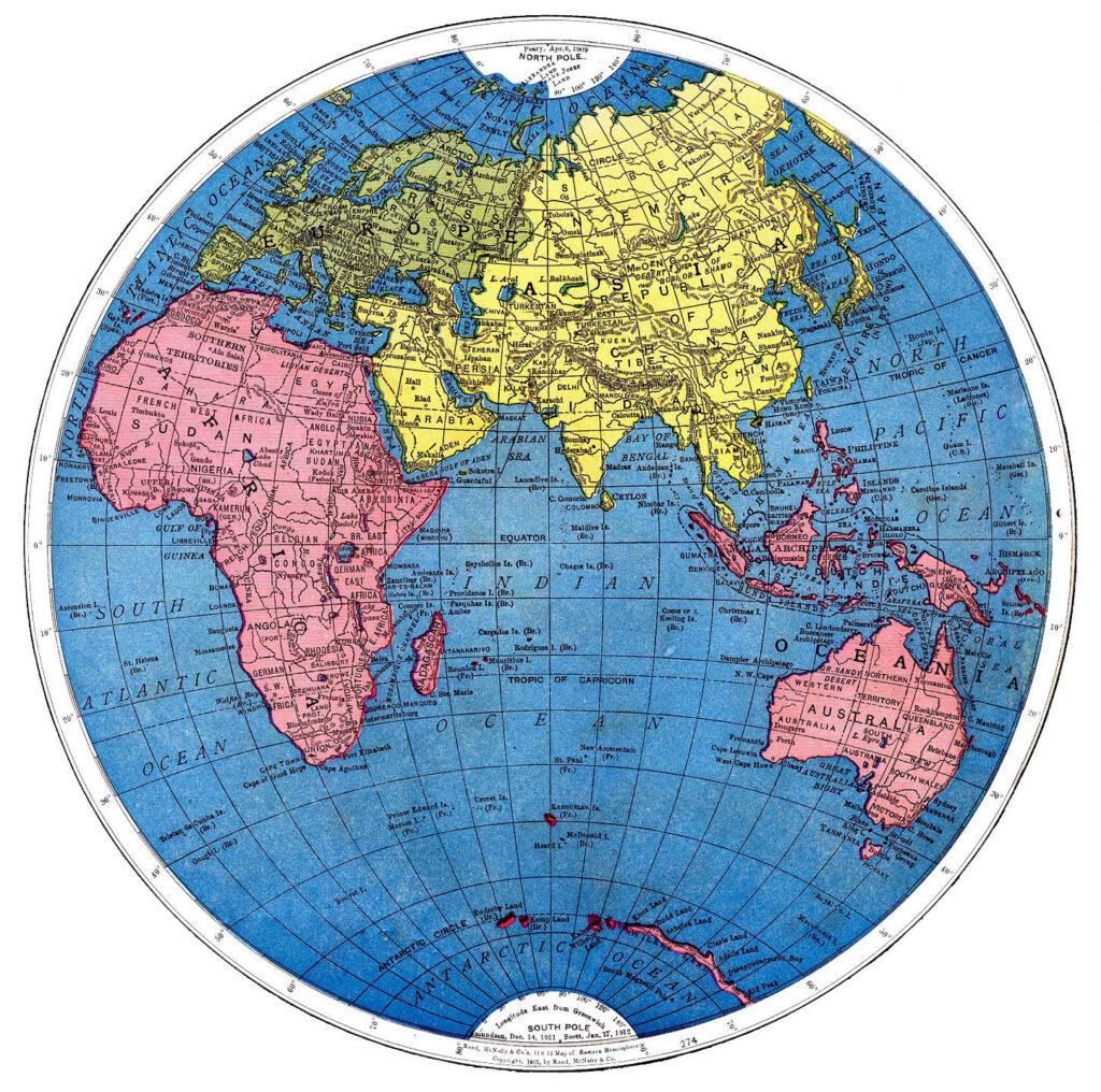 vintage map earth eastern hemisphere illustration