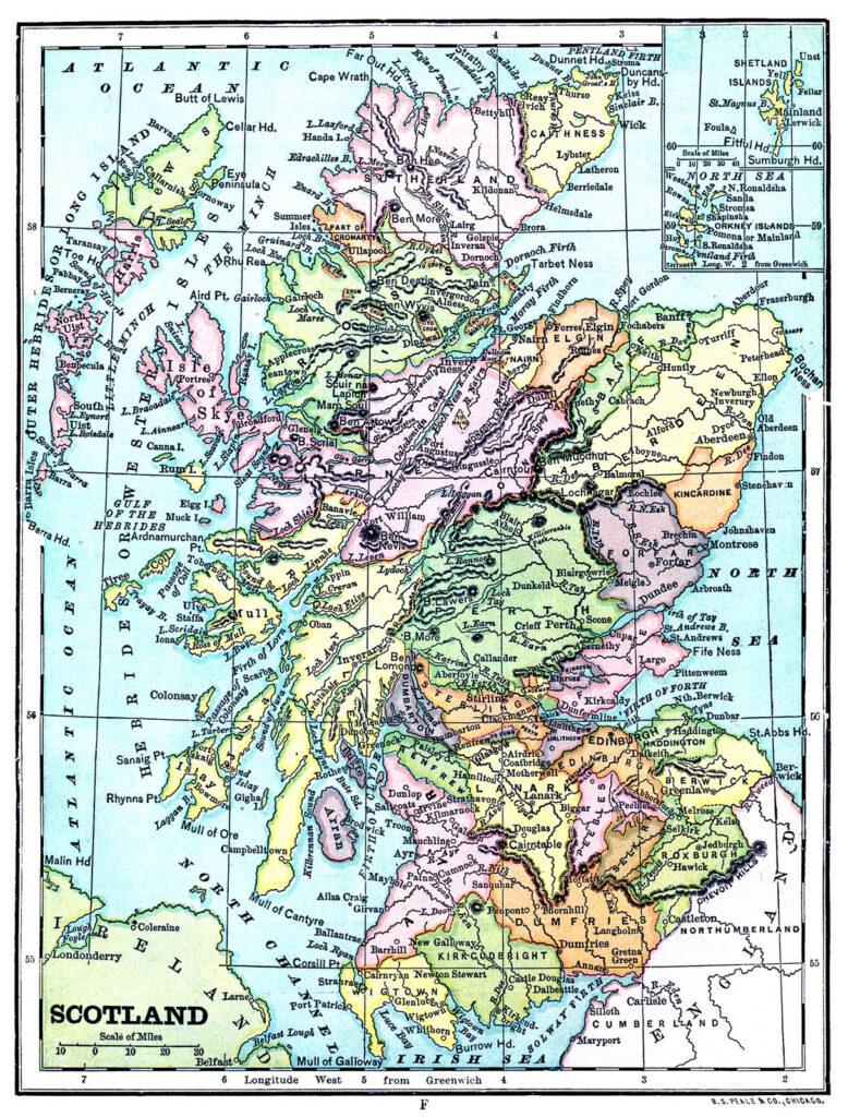 vintage map scotland image