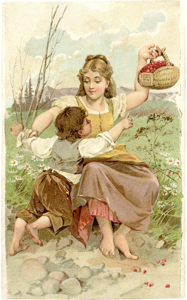 mother child berry picking basket clipart