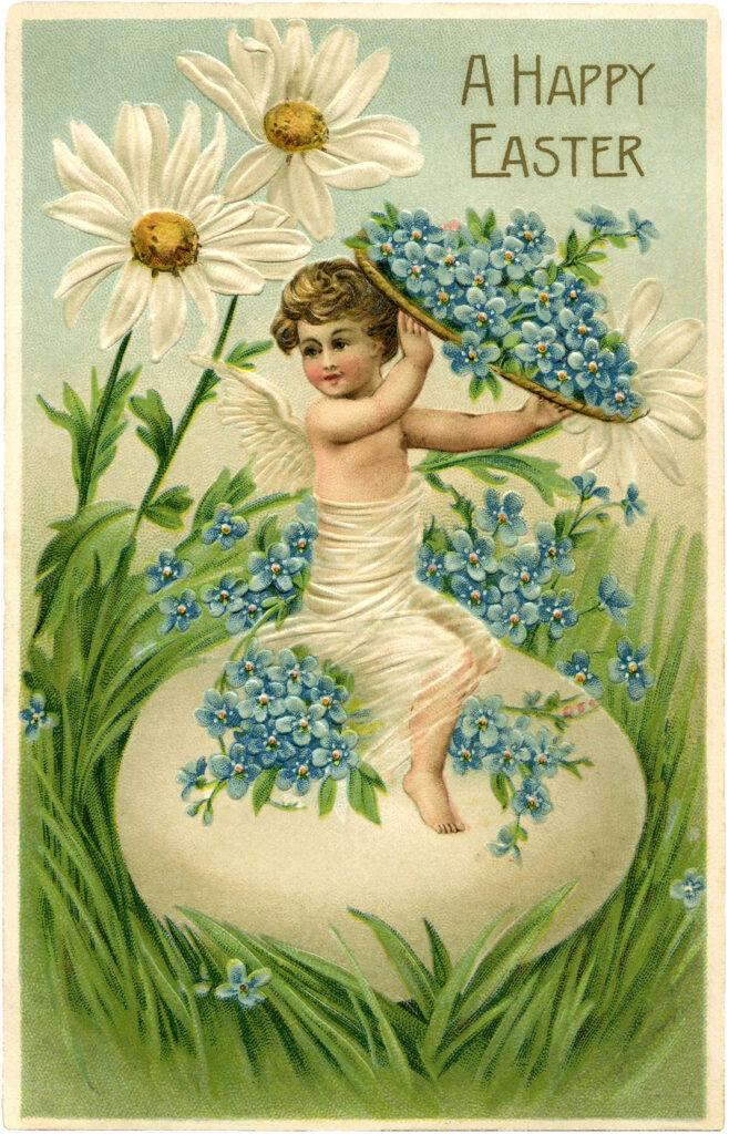 Easter cherub egg daisy image