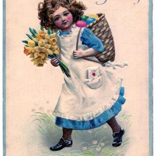 Easter girl flowers illustration