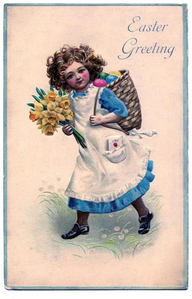 Easter girl flowers basket eggs illustration
