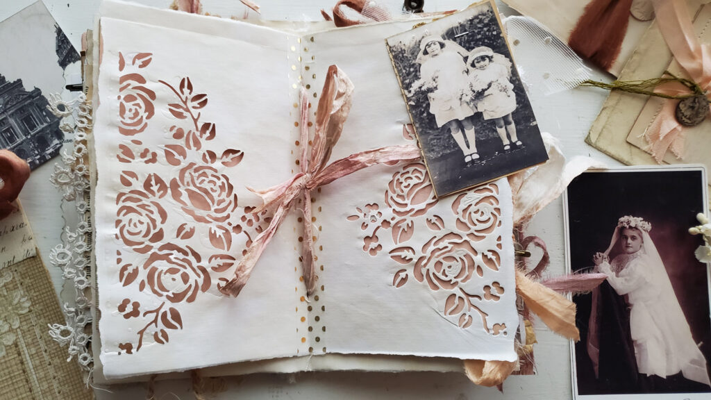 pink junk journal pages