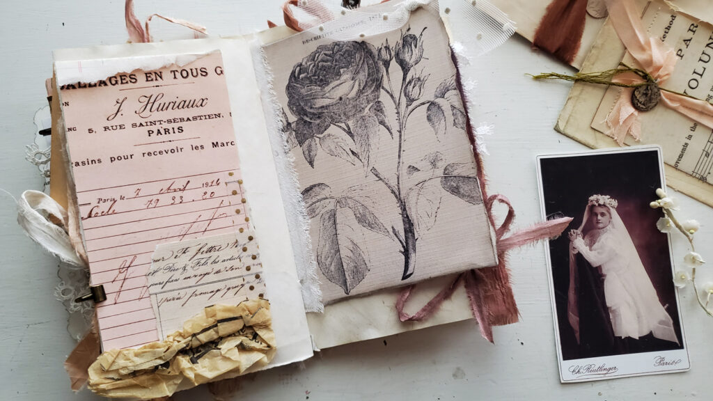 French junk journal rose image