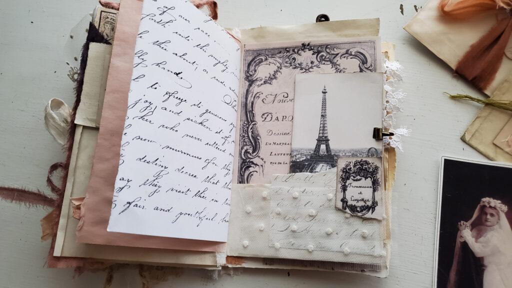 French Ephemera eiffel tower journal page