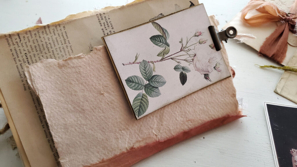 soft pink paper junk journal page