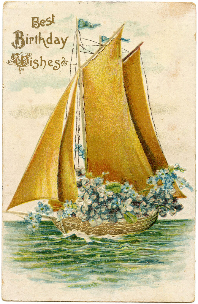 Golden Birthday Boat Image