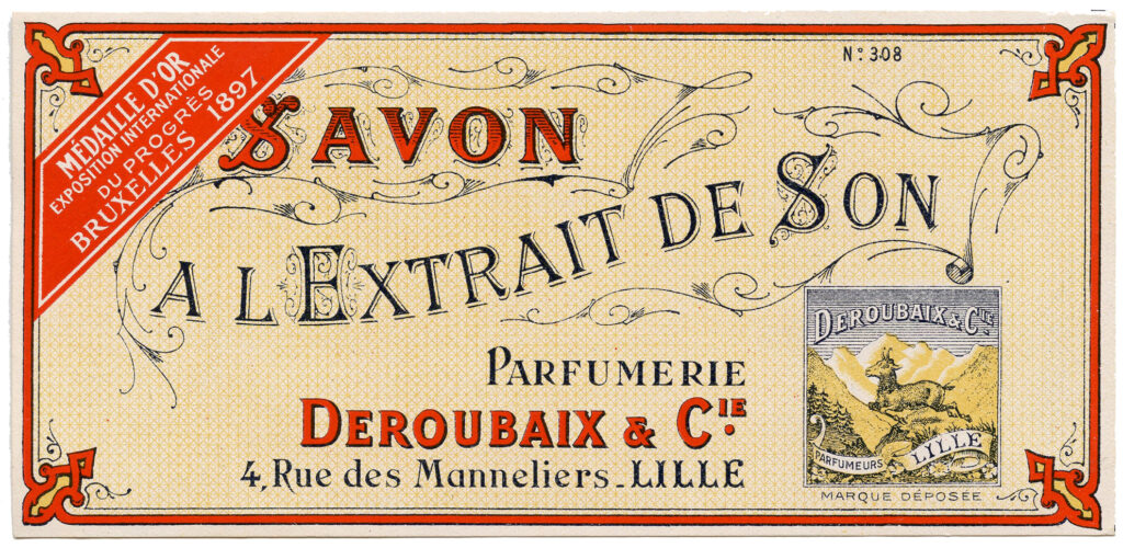 French soap label typography image