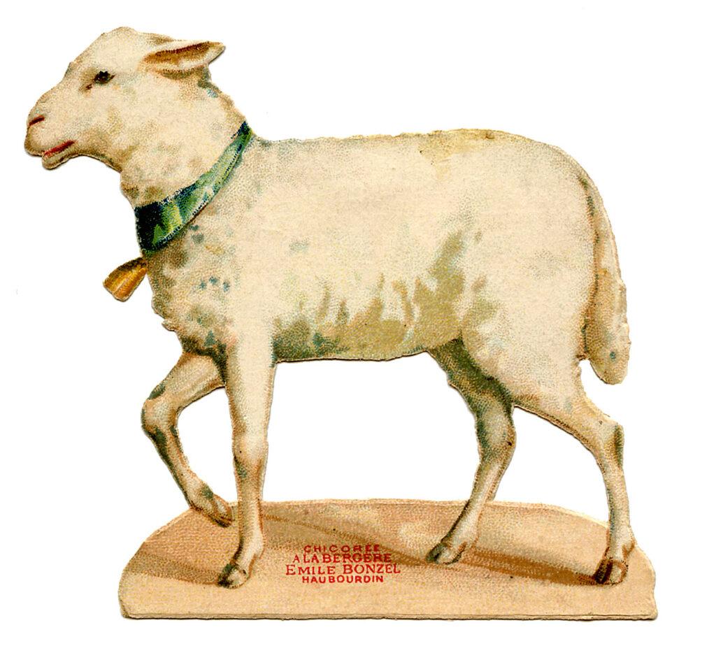 vintage lamb blue ribbon bell clipart