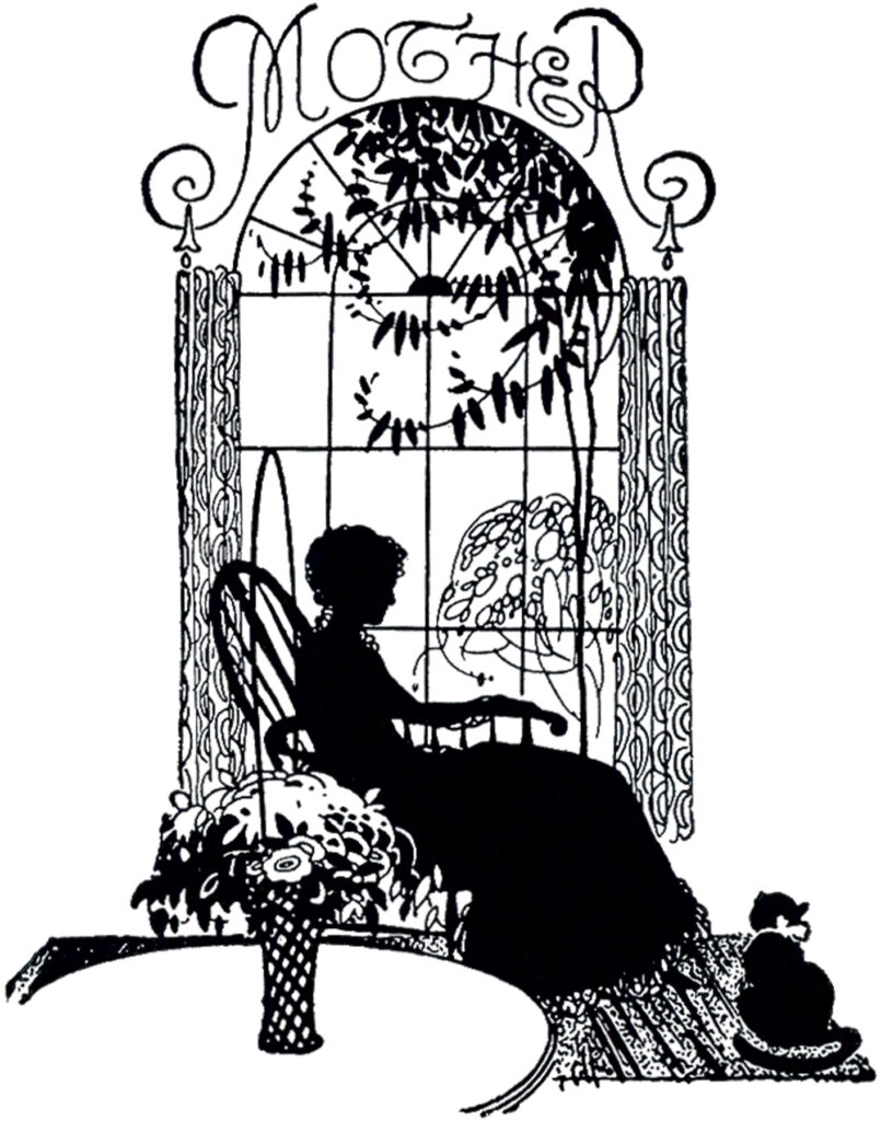 Mother silhouette chair window image