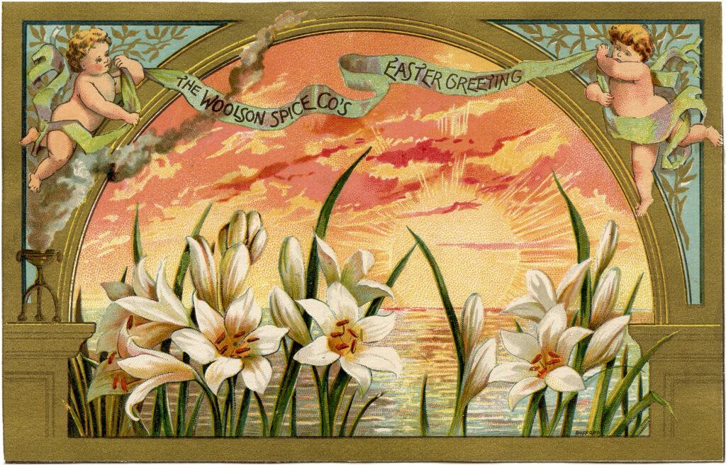 Easter card cherubs daffodils sky image