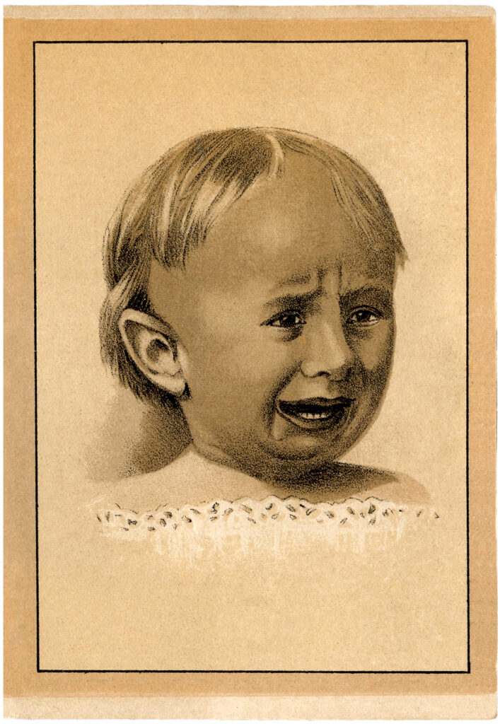 vintage crying baby illustration