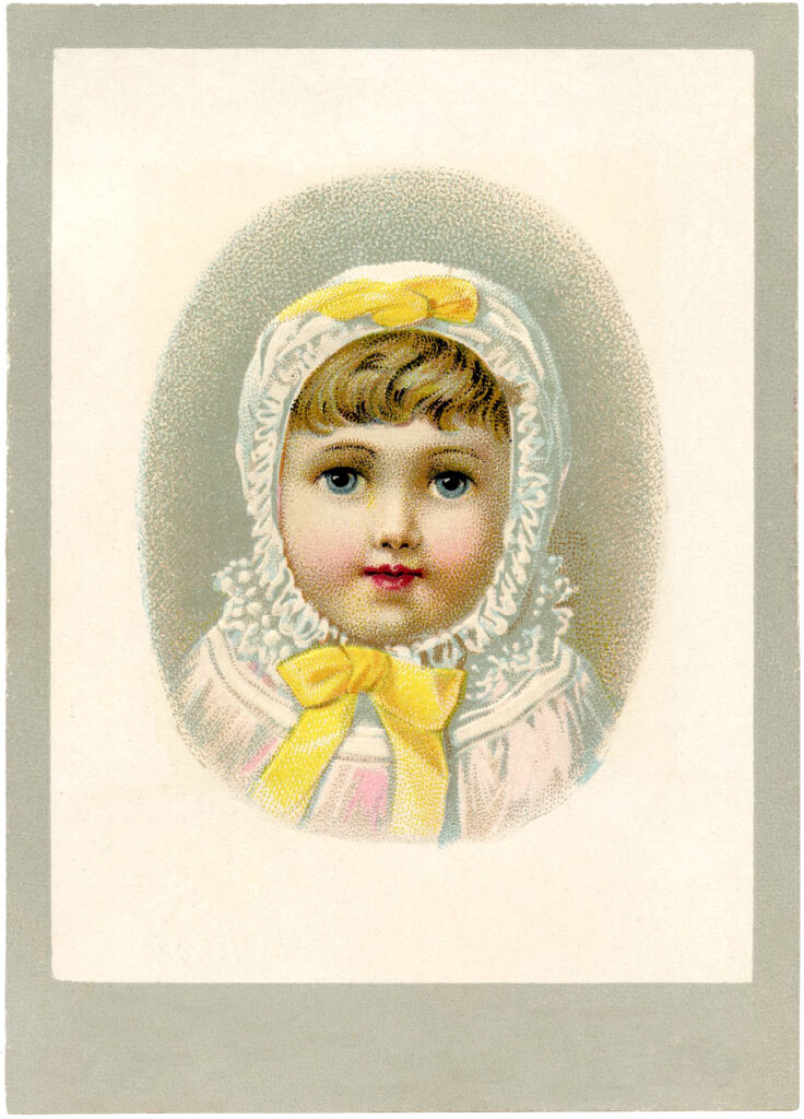beautiful baby white gown bonnet yellow ribbons illustration