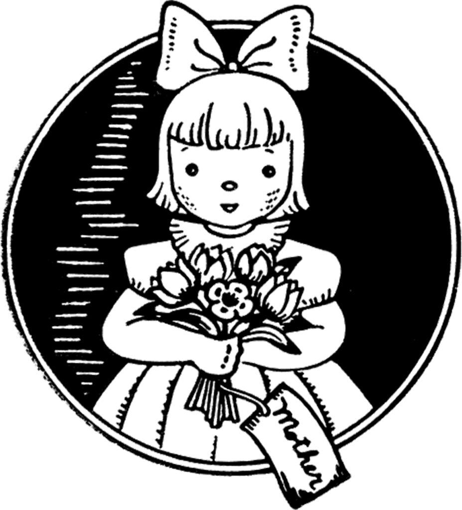 vintage cute girl bow bouquet flowers clipart