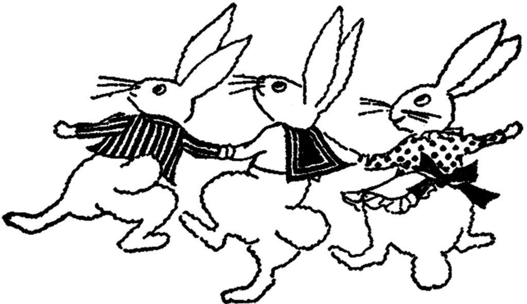 vintage dancing bunnies clipart