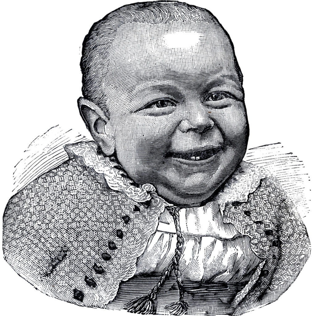 smiling happy baby vintage etching image
