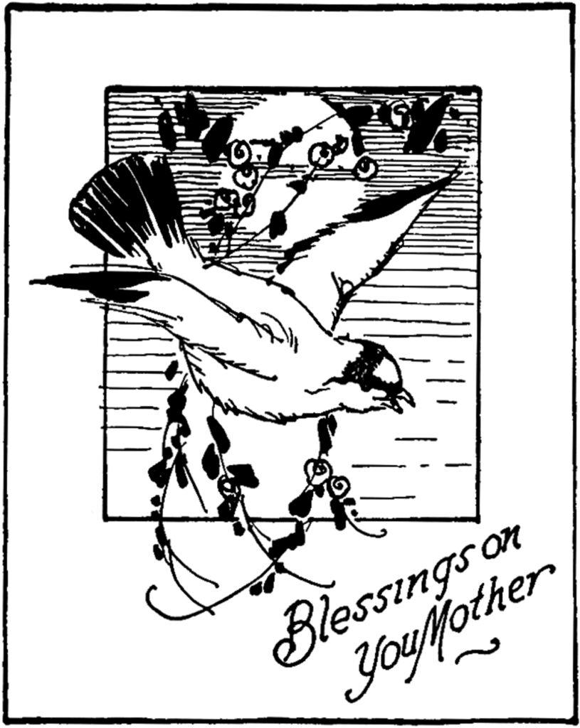 black white mother's day blessings bird image