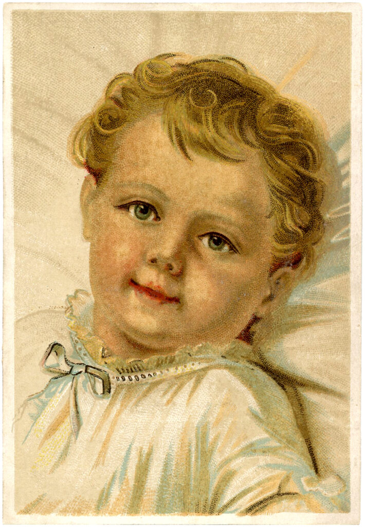 beautiful baby white gown blue ribbon illustration