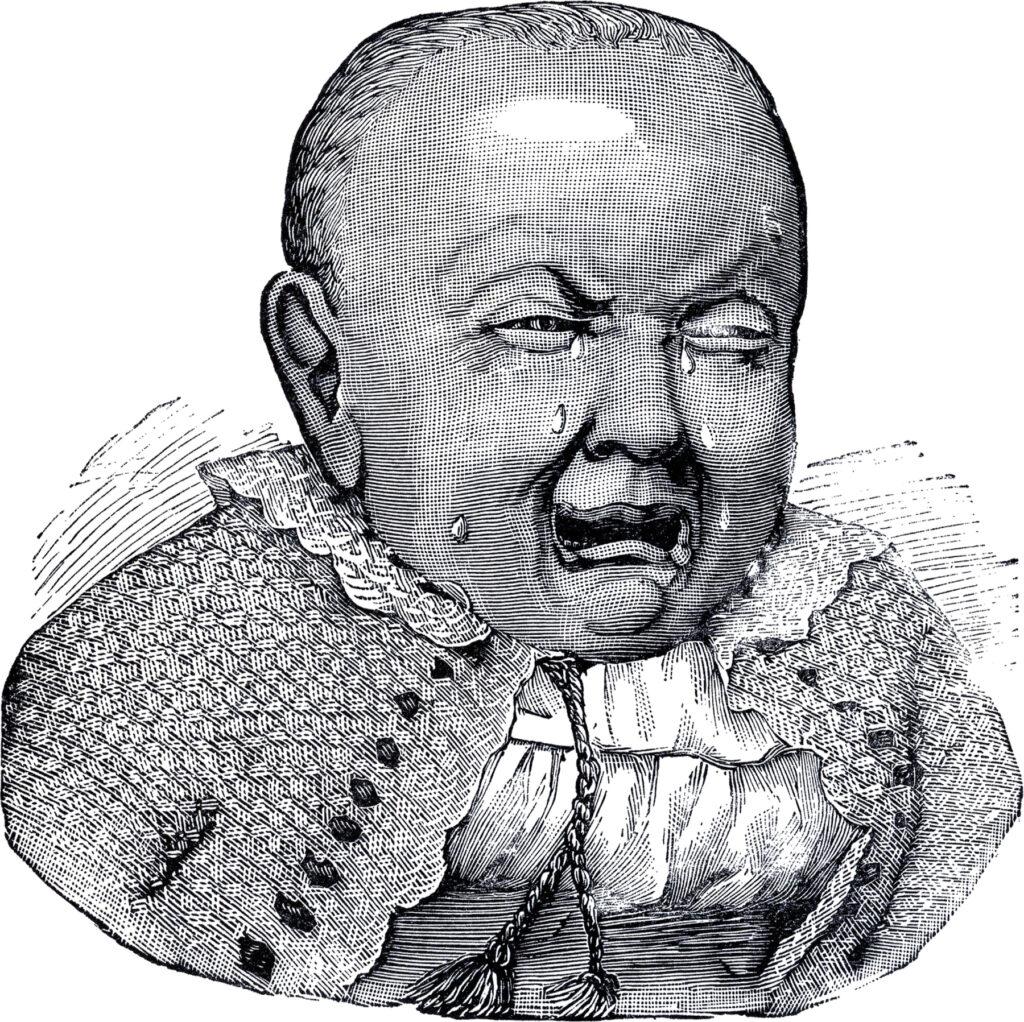 sad baby black white illustration
